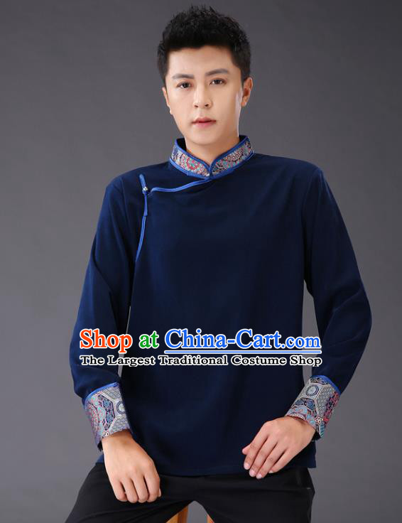 Chinese Traditional Mongol Minority Costume Ethnic Men Shirt Garment Mongolian Navy Jacket