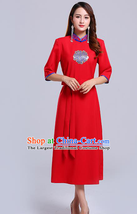 Traditional Chinese Ethnic Women Red Informal Dress Mongol Minority Garment Mongolian Nationality Apparels Costume