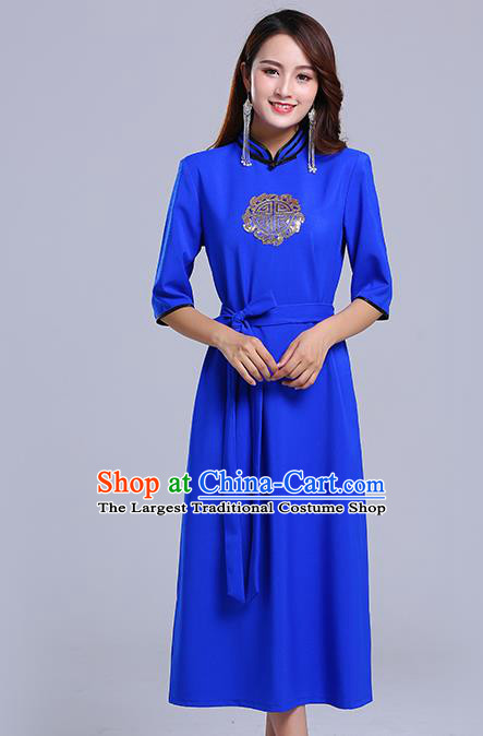 Traditional Chinese Ethnic Women Deep Blue Informal Dress Mongol Minority Garment Mongolian Nationality Apparels Costume