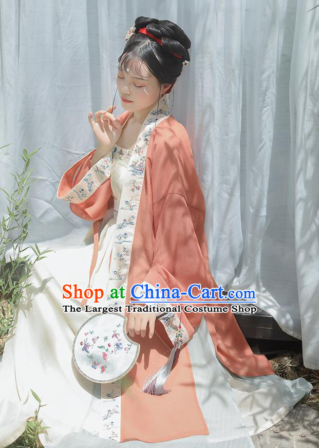 Chinese Ancient Imperial Consort Garment Song Dynasty Court Women Dress Traditional Hanfu Costumes BeiZi Top and Skirt Full Set
