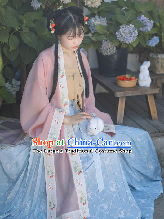 Chinese Ancient Village Girl Garment Song Dynasty Young Lady Dress Traditional BeiZi Top and Skirt Hanfu Costumes Complete Set