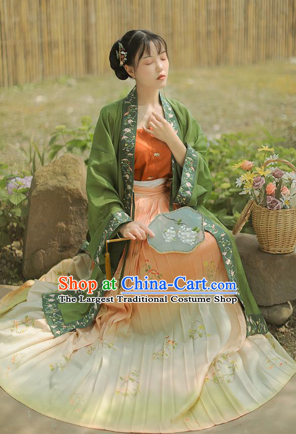 Chinese Ancient Song Dynasty Princess Dress Costumes Traditional Hanfu Court Lady Embroidered Green BeiZi Top and Skirt Full Set