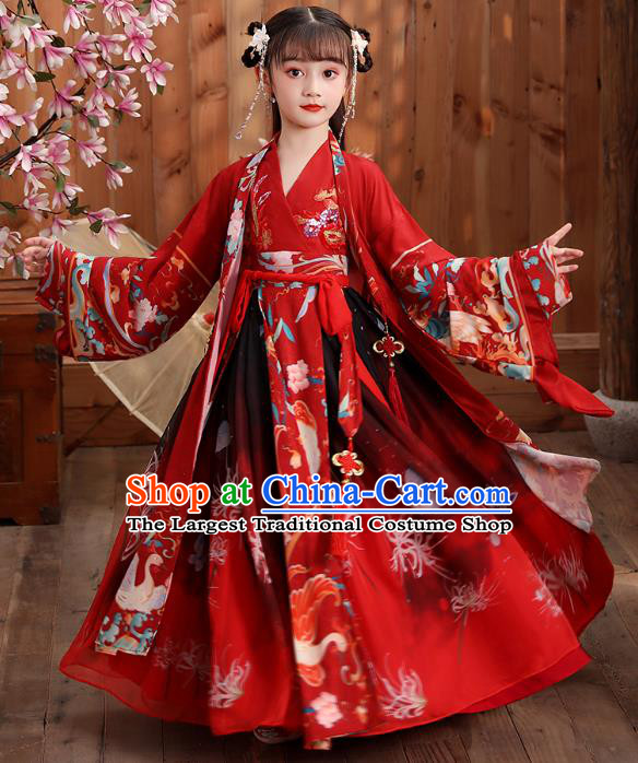 Chinese Traditional Royal Princess Hanfu Red Blouse and Skirt Ancient Han Dynasty Girl Costumes Apparels for Kids
