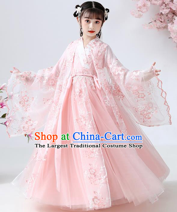 Chinese Traditional Royal Princess Pink Hanfu Dress Ancient Han Dynasty Girl Costumes Cloak Blouse and Skirt Apparels for Kids