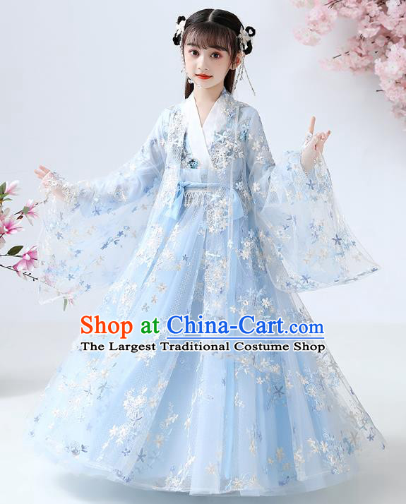 Chinese Traditional Royal Princess Blue Hanfu Dress Ancient Han Dynasty Girl Costumes Cloak Blouse and Skirt Apparels for Kids