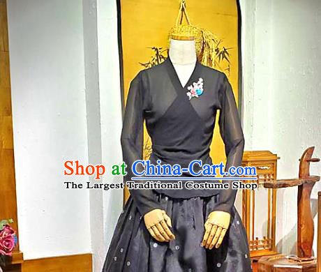 Korean Traditional Dance Black Veil Blouse and Skirt Korea Fashion National Dance Costumes Hanbok Apparels