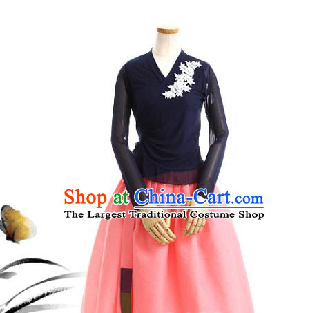Korean Traditional Navy Veil Blouse and Pink Skirt Korea Fashion National Dance Costumes Hanbok Apparels