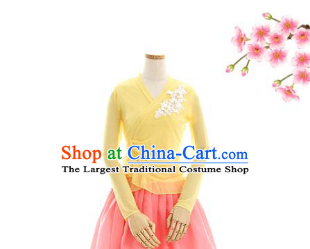 Korean Traditional Yellow Veil Blouse and Pink Skirt Korea Fashion National Dance Costumes Hanbok Apparels