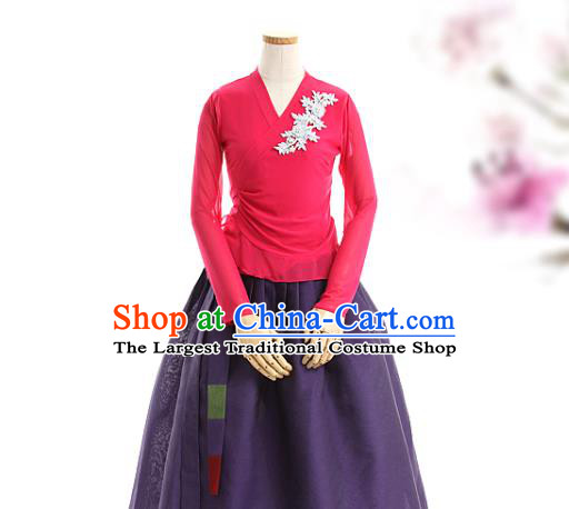 Korean Woman Traditional Rosy Veil Blouse and Purple Skirt Korea Dance Fashion National Costumes Hanbok Apparels