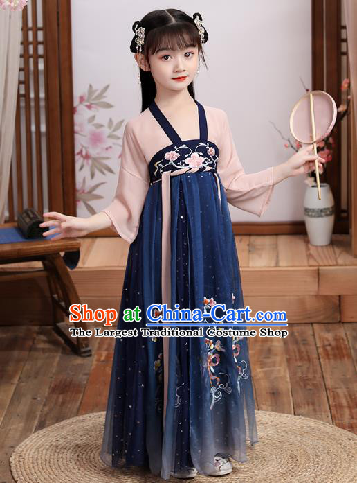 Chinese Traditional Hanfu Dress Ancient Girl Costumes Stage Show Apparels Blouse and Navy Skirt for Kids