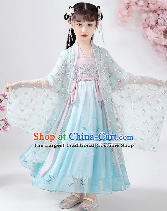 Chinese Traditional Song Dynasty Hanfu Dress Ancient Girl Costumes Stage Show Apparels Blue Cloak Blouse and Skirt for Kids