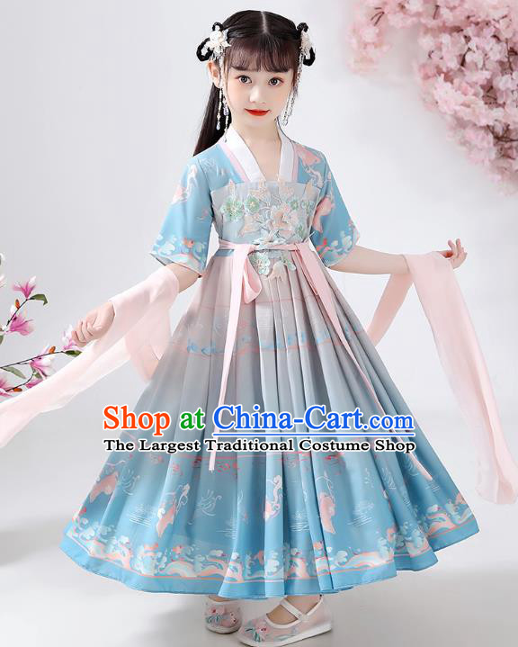 Chinese Traditional Song Dynasty Embroidered Hanfu Dress Ancient Girl Costumes Stage Show Apparels Blue Cloak Blouse and Skirt for Kids