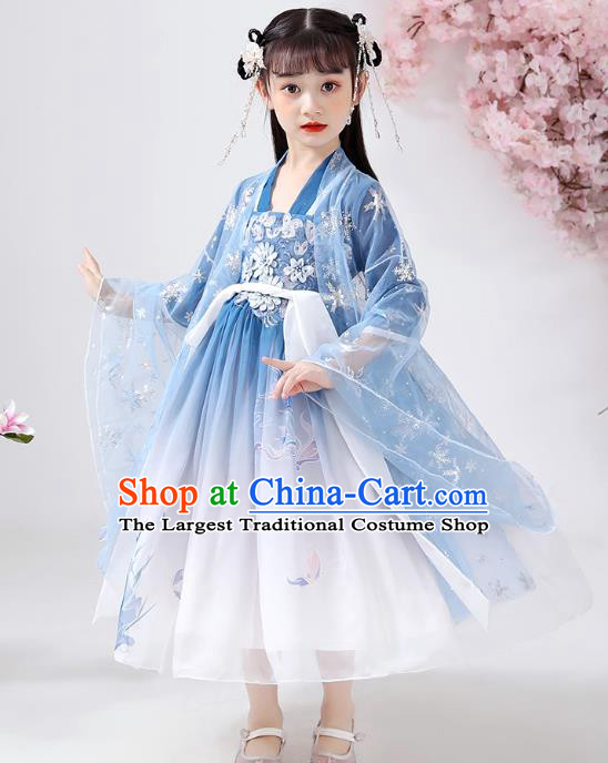 Chinese Traditional Ming Dynasty Embroidered Hanfu Dress Ancient Girl Costumes Stage Show Apparels Blue Cloak Blouse and Slip Dress for Kids
