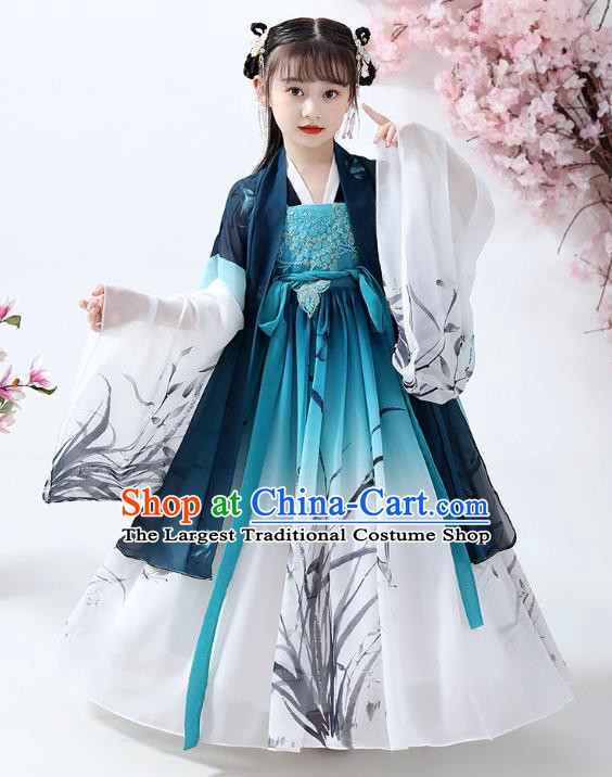Chinese Traditional Song Dynasty Hanfu Dress Ancient Girl Costumes Stage Show Apparels Navy Cape Blouse and Ink Painting Orchid Dress for Kids