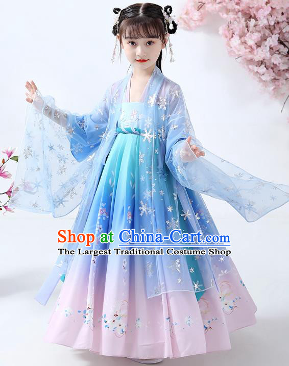 Chinese Traditional Song Dynasty Girl Hanfu Dress Ancient Children Costumes Stage Show Apparels Blue Cape Blouse and Skirt for Kids