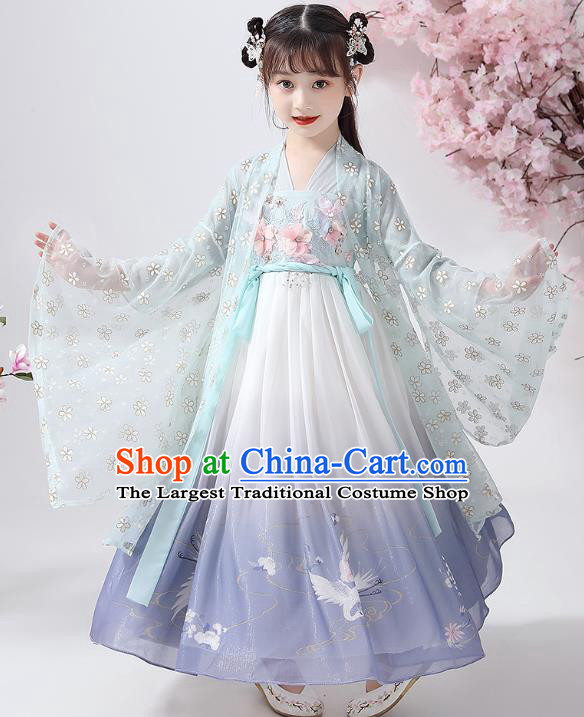 Chinese Traditional Printing Hanfu Dress Ancient Princess Costumes Stage Show Girl Green Cape Blouse and Skirt Apparels for Kids