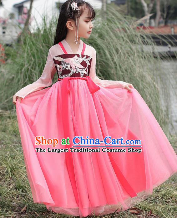 Chinese Traditional Hanfu Dress Ancient Princess Costumes Stage Show Girl Blouse and Skirt Tang Dynasty Apparels for Kids