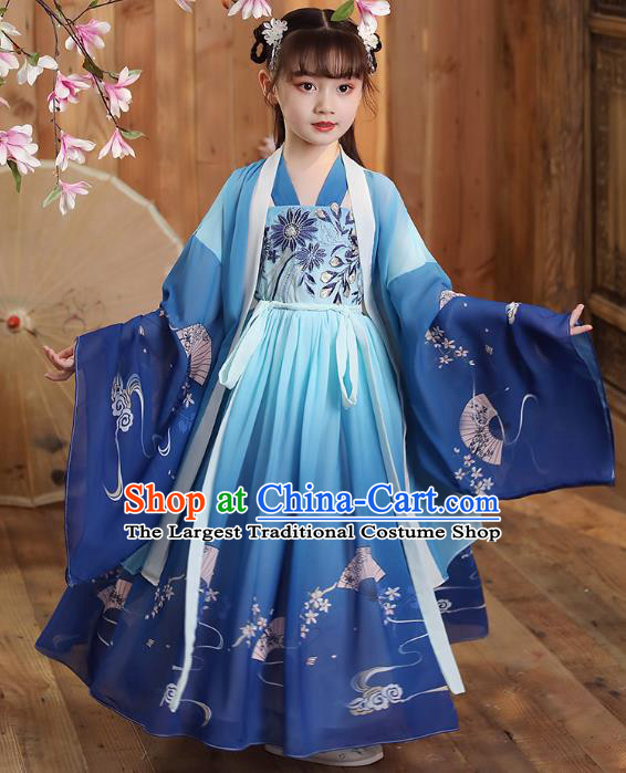 Chinese Traditional Deep Blue Hanfu Dress Apparels Ancient Princess Costumes Stage Show Girl Cape Blouse and Skirt for Kids