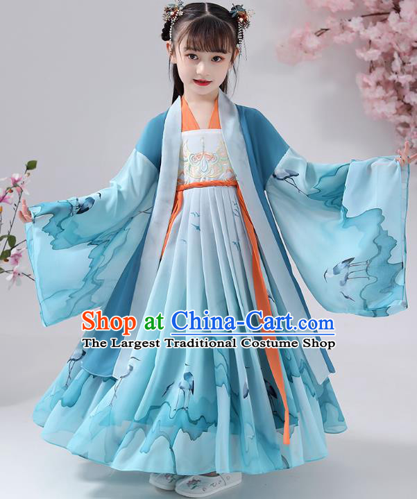 Chinese Traditional Blue Chiffon Hanfu Dress Apparels Ancient Princess Costumes Stage Show Girl Cape Blouse and Skirt for Kids