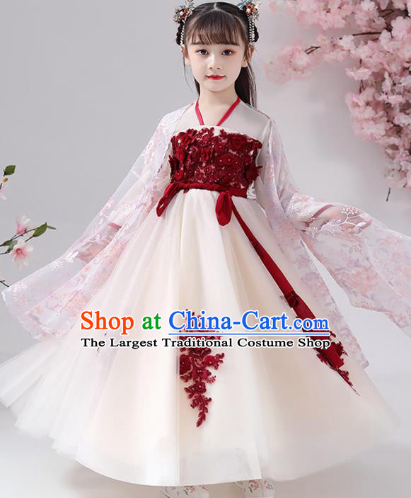 Chinese Traditional Chiffon Hanfu Dress Apparels Ancient Princess Costumes Stage Show Girl Pink Cape Blouse and Beige Skirt for Kids