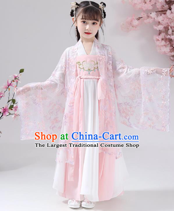 Chinese Traditional Girl Princess Hanfu Dress Apparels Ancient Costumes Stage Show Pink Cape Blouse and Skirt for Kids