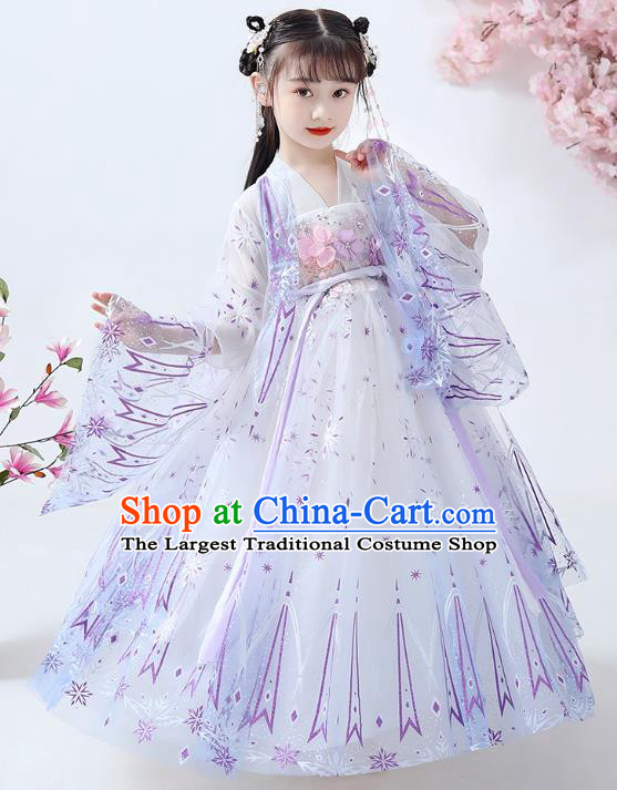 Chinese Traditional White Hanfu Dress Ancient Princess Costumes Stage Show Girl Cape Blouse and Skirt Apparels for Kids