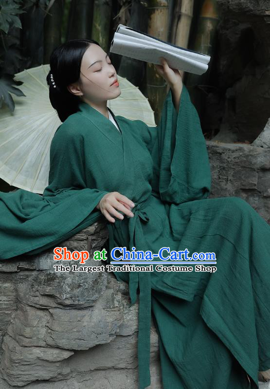 Chinese Traditional Ancient Female Swordsman Garment Jin Dynasty Palace Lady Green Flax Hanfu Dress Costumes