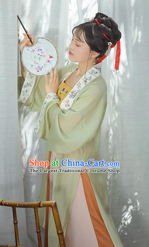 Chinese Ancient Song Dynasty Palace Princess Garment Traditional Hanfu Dress Costumes Green BeiZi Top and Skirt Full Set