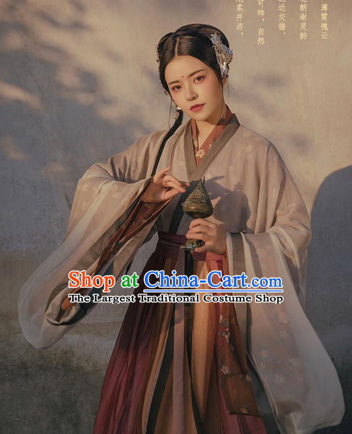 Chinese Ancient Swordswoman Costumes Traditional Hanfu Dress Jin Dynasty Court Lady Apparels Complete Set