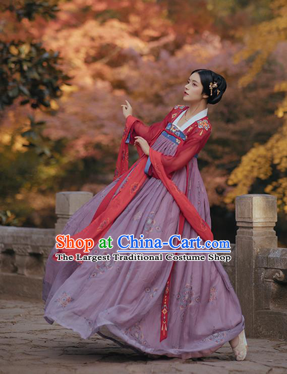 Chinese Ancient Court Woman Costumes Traditional Hanfu Tang Dynasty Princess Red Blouse and Dress Apparels