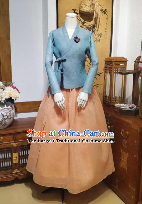Korean Women Traditional Blue Blouse and Apricot Dress Asian Korea National Fashion Costumes Hanbok Informal Apparels