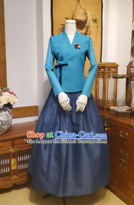 Korean Traditional Blue Blouse and Navy Dress Asian Korea National Fashion Costumes Hanbok Women Informal Apparels