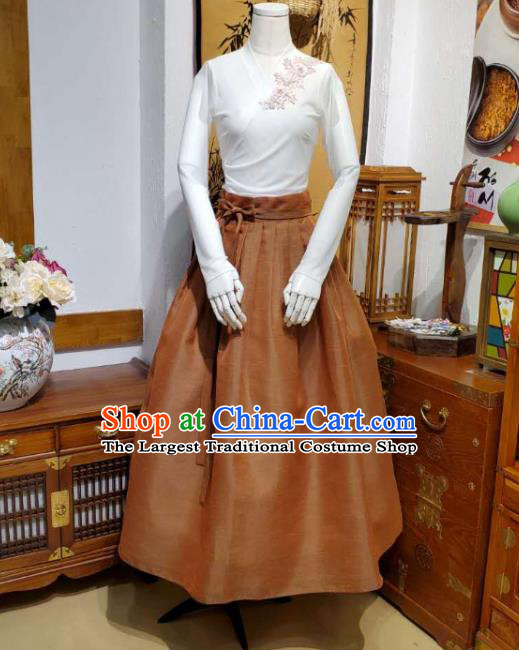 Korean Traditional Dance Blouse and Ginger Satin Skirt Asian Korea National Fashion Costumes Women Hanbok Apparels