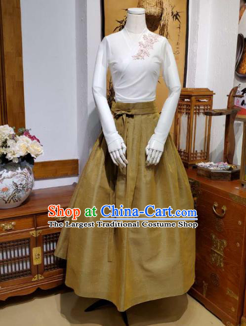 Korean Traditional Dance Blouse and Olive Green Skirt Asian Korea National Fashion Costumes Women Hanbok Apparels