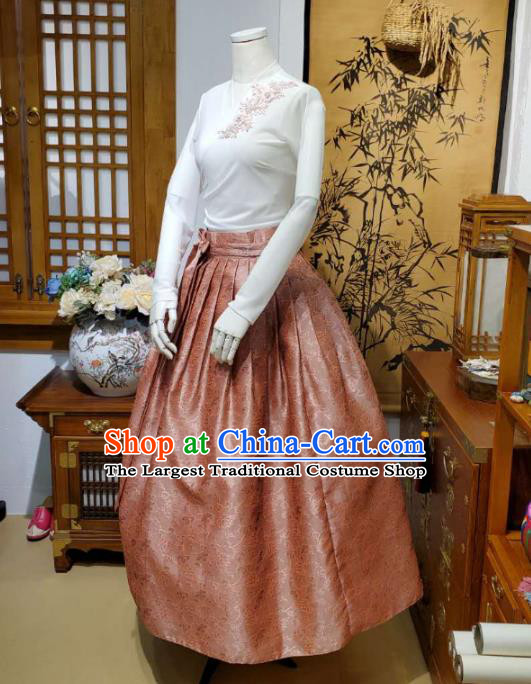 Korean Traditional Dance Blouse and Orange Bust Skirt Asian Korea National Fashion Costumes Women Hanbok Apparels