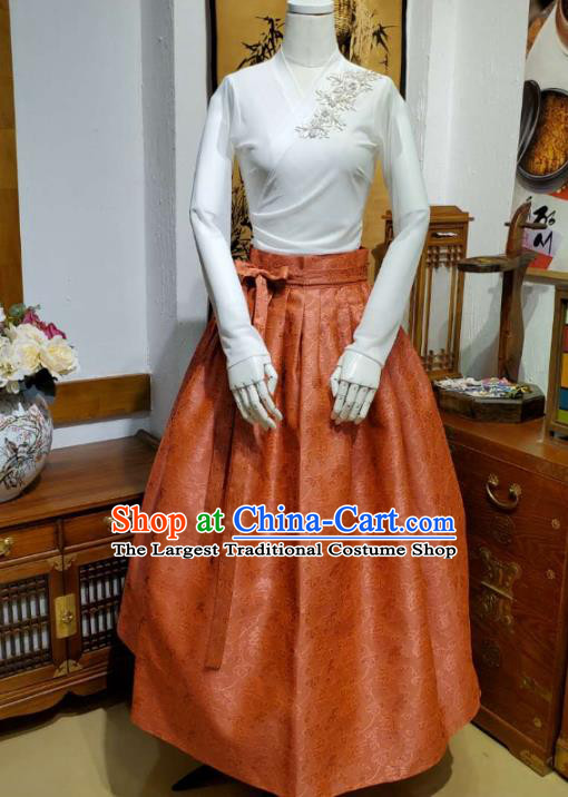 Korean Traditional Dance Blouse and Orange Satin Bust Skirt Asian Korea National Fashion Costumes Women Hanbok Apparels