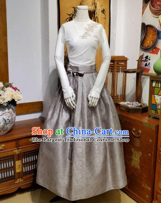 Korean Traditional Dance Blouse and Grey Satin Bust Skirt Asian Korea National Fashion Costumes Women Hanbok Apparels