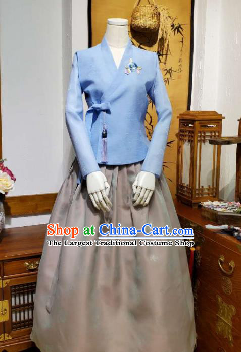 Korean Traditional Female Blue Blouse and Grey Bust Skirt Asian Korea National Fashion Costumes Women Hanbok Apparels