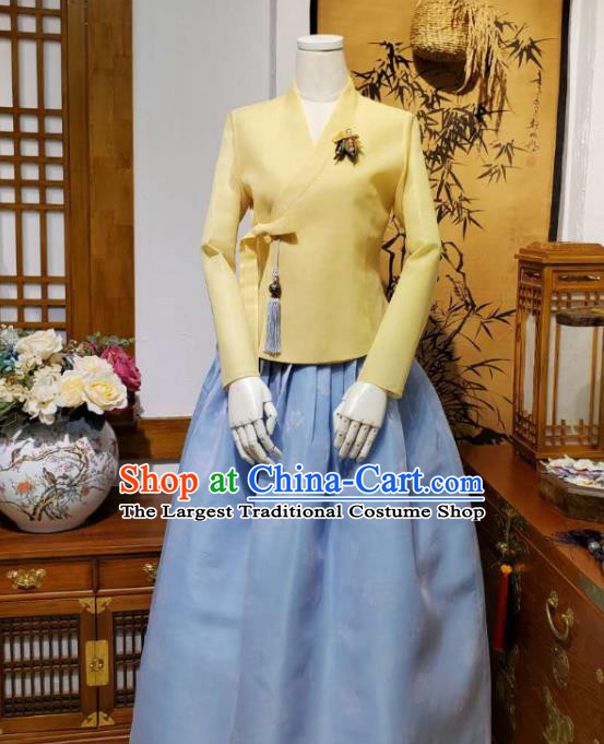Korean Traditional Female Yellow Blouse and Blue Bust Skirt Asian Korea National Fashion Costumes Women Hanbok Apparels