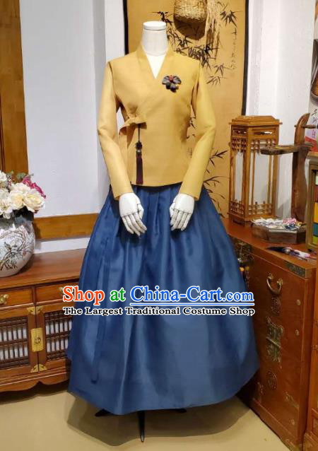 Korean Traditional Female Ginger Blouse and Navy Bust Skirt Asian Korea National Fashion Costumes Women Hanbok Apparels