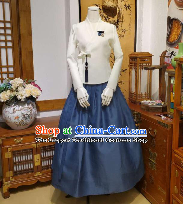 Korean Traditional Female White Blouse and Navy Bust Skirt Asian Korea National Fashion Costumes Women Hanbok Informal Apparels