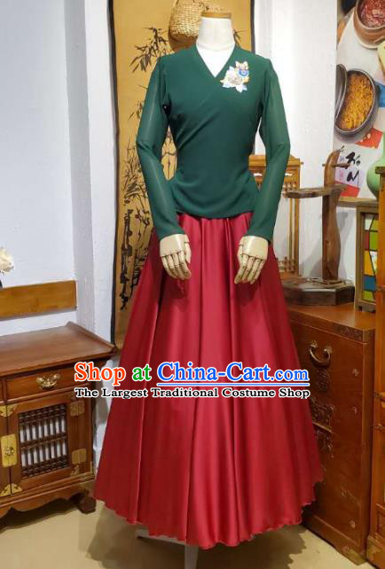 Korean Traditional Dance Training Green Veil Blouse and Red Satin Skirt Asian Women Hanbok Informal Apparels Korea Fashion Costumes