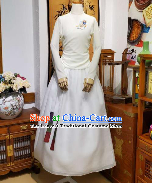 Korean Dance Training Beige Veil Blouse and Skirt Asian Women Hanbok Informal Apparels Korea Fashion Traditional Costumes