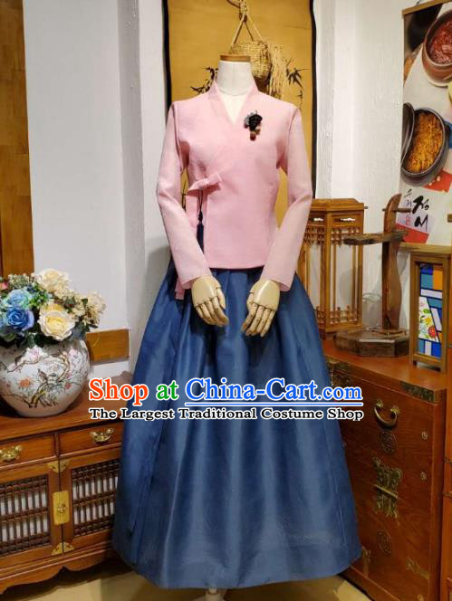 Korean Women Apparels Pink Blouse and Navy Skirt Asian Korea Fashion Traditional Hanbok Costumes