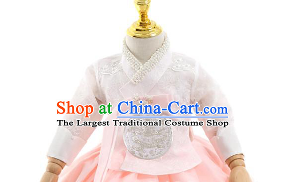 Asian Korea Girls Birthday White Blouse and Pink Dress Korean Kids Fashion Traditional Apparels Hanbok Costumes