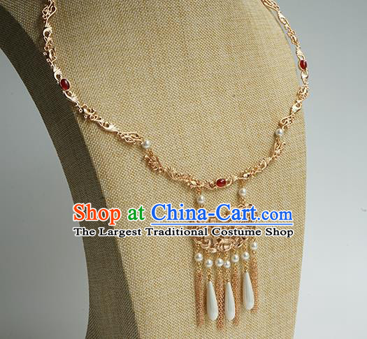Chinese Handmade Hanfu Ming Dynasty Necklace Classical Jewelry Accessories Ancient Princess Golden Necklet for Women