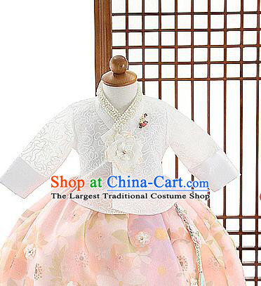 Asian Korea Girls White Blouse and Pink Dress Korean Kids Fashion Traditional Hanbok Apparels Birthday Costumes