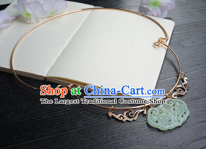 Chinese Handmade Golden Longevity Lock Hanfu Necklace Classical Jewelry Accessories Ancient Bride Jade Necklet for Women