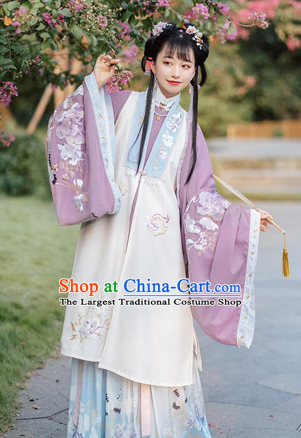Ancient Chinese Patrician Lady Long Vest Blouse and Skirt Traditional Ming Dynasty Embroidered Costumes Hanfu Apparels Complete Set
