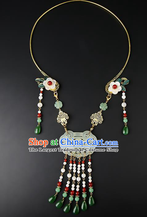 Chinese Handmade Song Dynasty Jade Necklace Classical Jewelry Accessories Ancient Hanfu Beads Tassel Necklet for Women